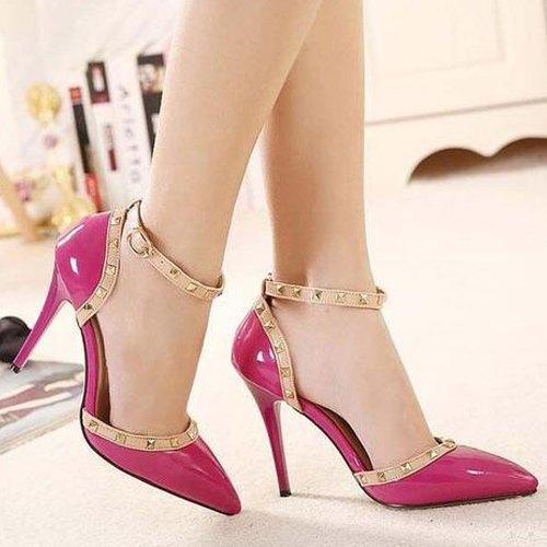 UVS Party Wear Ladies Pink Pencil Heel
