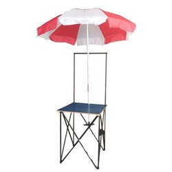 Black MS and Plywood Metal Promotional Table with Umbrella and Without Print