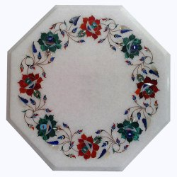 White Stone Inlay Table Tops