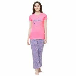 Evolove Women''s Unicorn Printed Knitted Night-Suit (Pajama Set For Ladies) (Peach/Purple)