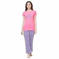 Evolove Women''s Unicorn Printed Knitted Night-Suit (Pajama Set For Ladies) (Peach/Purple)