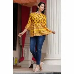 3/4th Sleeve Multicolor Ladies Party Wear Cotton Top, Size: S-XXL