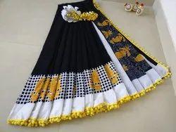 Bagru Print Pom Pom Lace Cotton Mulmul Saree