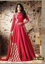 Red Colour Floor Length Anarkali Suits