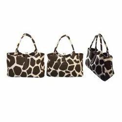 Handled D Shape Canvas Handbag, Size/Dimension: 23 h x 36 (26) x 13 Cm