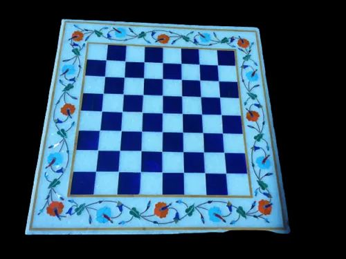Chess Design Marble Inlay Table Top