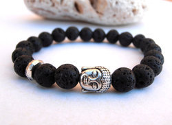 Men Buddha Lava Bracelet