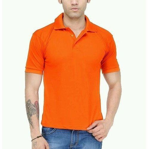 60858c1176a Men's Cotton Half Sleeve Orange Plain T-shirt, Size: M-3XL, Rs 220 ...