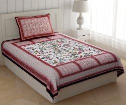 Floral Printed Bed Sheet Cotton for Single Bed