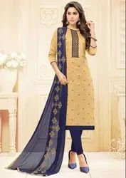 Beige Embroidered Cotton Churidar Kameez
