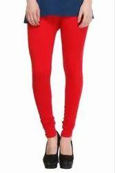Churidar Red, Pink Full Length Cotton Lycra Leggings, Size: Free Size