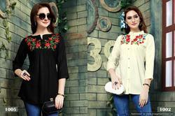 Party Wear 3/4th Sleeve Stylish Embroidered Rayon Top