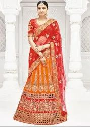 Glamorous Golden Orange And Coral Red Lehenga Saree