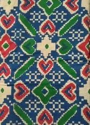 Multicolor Printed Dark Blue Kalamkari Fabric