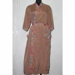 Women's Silk Sari Long Kimono Maxi Sari Gown Dress