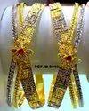 Party Wear Brass Stylish Gold Plate Bangle Set