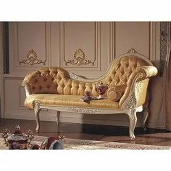 L Shape Wooden Brown French Modern Sofa, Seating Capacity: Two Seater