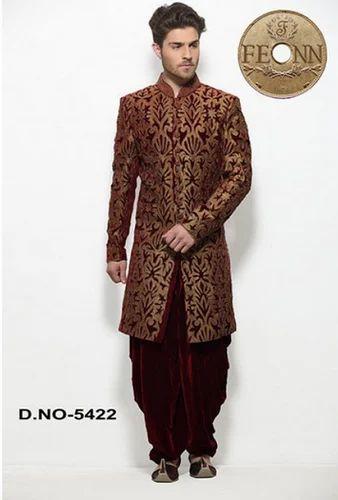 Velvet Maroon Men Wedding Wear Dhoti Suit - Fashion Icon Ethic ...