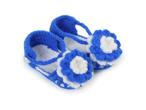 Pikaboo Baby Girl Flower Adorned Blue White Crochet Sandals Baby