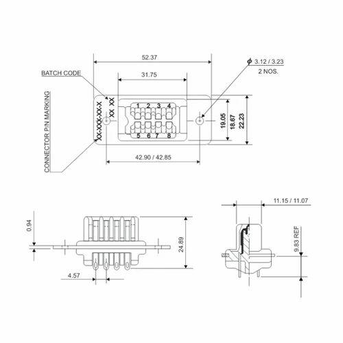 amphenol 8 pin plug 5 amps 26 series rack & panel connector