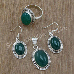 Handmade Sterling Silver Green Onyx Gemstone Jewelry New Set