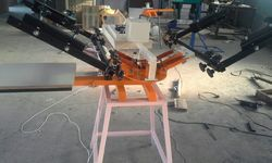 Textile Manual Printing Press Two Colour Single Station