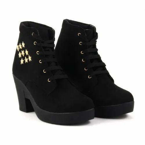 High Block Heel Women Black Boots, Size