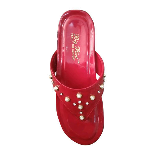 0768260d7a5 Ladies Red Flat Thong Sandal