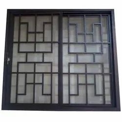 Black Modern Stainless Steel Window Grill, For Home