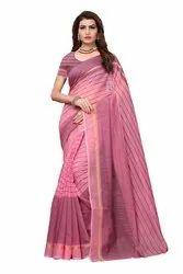 Suyukti Fab Casual Wear Chanderi Cotton Saree With Running Blouse, 6 Mtr