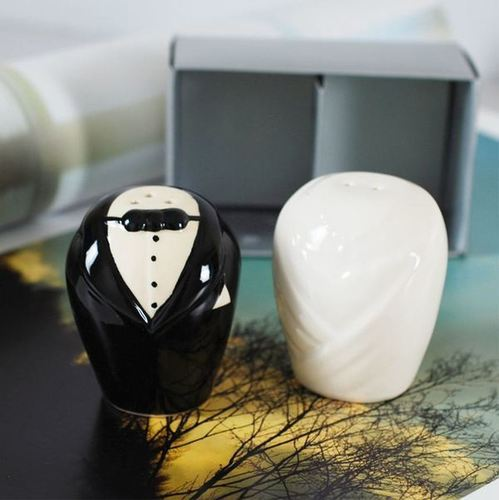 Ceramic Bride And Groom Salt And Pepper Shakers Indian Wedding
