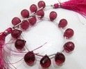 Rubellite Pink Quartz Tear Drop Beads