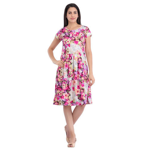 7855d93404c Round Neck Printed Cottinfab Women's Floral Dress, Short Sleeves, Rs ...