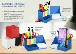 C97 - Folding USB Hub Tumbler With Notepad And Sticky Pads With 3 Usb Ports