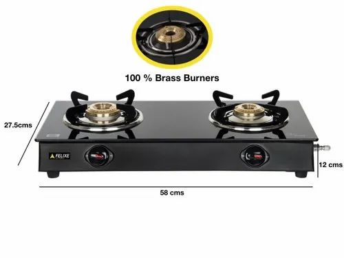 Felixe 2 Burner Glasstop Lpg Gas Stove Nano Ms For Kitchen Size Small Rs 1150 Piece Id 22122386930