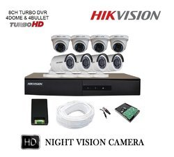 Hikvision 1MP (720P) 8CH Turbo HD DVR with Plastic Body 4 Dome & 4 Bullet Cameras Full Combo Kit
