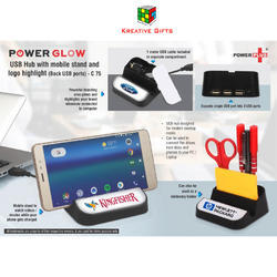 Power Glow USB Hub with Mobile Stand and Logo Highlight (Back USB Ports)