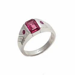 Pink Tourmaline & Ruby Gemstone Men's Ring Handmade Beautiful Hottest Design Ring