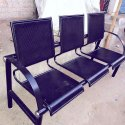 Black Mild Steel Three Seater Chair