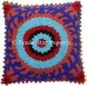 Indian Suzani Pom Pom Cushion Cover