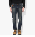 Blue Straight Fit Scrapped With Whiskers Denims  8560193