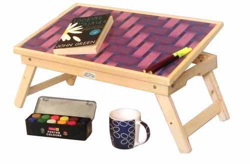 Wooden Pink Folding Kids Study Table