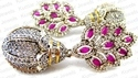 Kumar Jewels Long Antique Ruby Crystal Baguette Victorian Art Cocktail Party Earrings