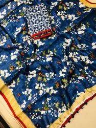 Cotton Silk Printed Mirror Work Saree