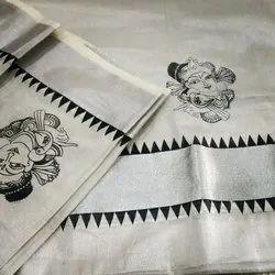 Kuthampully Silver kasavu saree Ekatva collections Kerala Traditional Sarees
