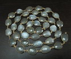White Moonstone Briolette Connector Chain
