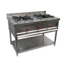 Steel SS Two Burner Cooking Range, Size: 45+24+34