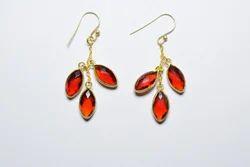 Marquese Shape Ruby Quartz Three Stone Ladies Valentine 925 Sterling Silver Earring