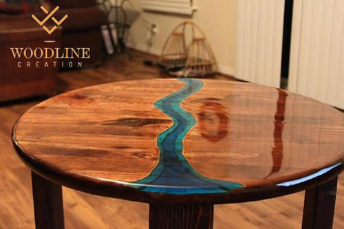 Epoxy Resin Round Center Table Top - Woodline Creation