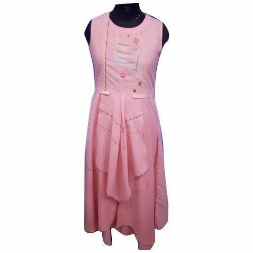 1e7b51bd0d39d6 Party Wear Cotton Ladies Sleeveless Long Gown